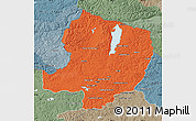 Political Map of Hovsgol, semi-desaturated