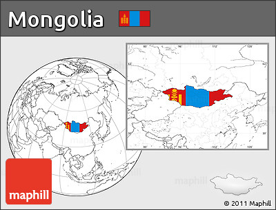 Flag Location Map of Mongolia, blank outside
