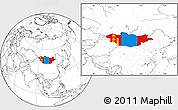 Flag Location Map of Mongolia, blank outside