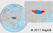 Flag Location Map of Mongolia, gray outside