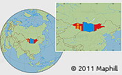 Flag Location Map of Mongolia, savanna style outside