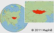 Savanna Style Location Map of Mongolia