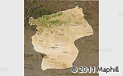 Satellite 3D Map of Ovorhangay, darken