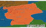 Political Panoramic Map of Ovorhangay, darken
