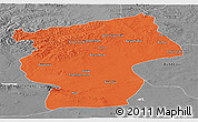 Political Panoramic Map of Ovorhangay, desaturated