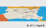 Shaded Relief Panoramic Map of Tov, political outside
