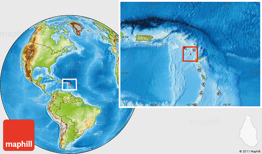 Physical Location Map Of Montserrat - Montserrat map