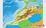Physical 3D Map of Morocco, political outside, shaded relief sea