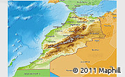 Physical 3D Map of Morocco, political shades outside, shaded relief sea