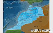 Political Shades 3D Map of Morocco, darken