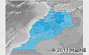Political Shades 3D Map of Morocco, desaturated