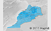Political Shades 3D Map of Morocco, lighten, desaturated