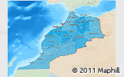Political Shades 3D Map of Morocco, lighten, land only