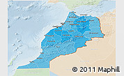 Political Shades 3D Map of Morocco, lighten