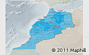Political Shades 3D Map of Morocco, lighten, semi-desaturated