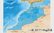 Political Shades 3D Map of Morocco, satellite outside, bathymetry sea