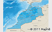 Political Shades 3D Map of Morocco, shaded relief outside, bathymetry sea