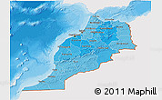 Political Shades 3D Map of Morocco, single color outside