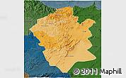 Political Shades 3D Map of Centre Nord, darken