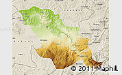 Physical Map of Fes, shaded relief outside