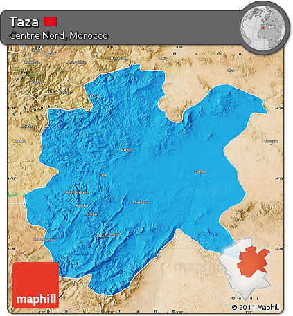 Free Political Map of Taza satellite outside