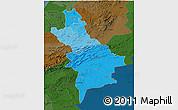Political Shades 3D Map of Centre Sud, darken