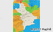 Shaded Relief 3D Map of Centre Sud, political outside