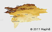 Physical Panoramic Map of Errachidia, single color outside