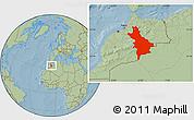 Savanna Style Location Map of Centre Sud, hill shading