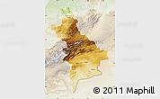 Physical Map of Centre Sud, lighten