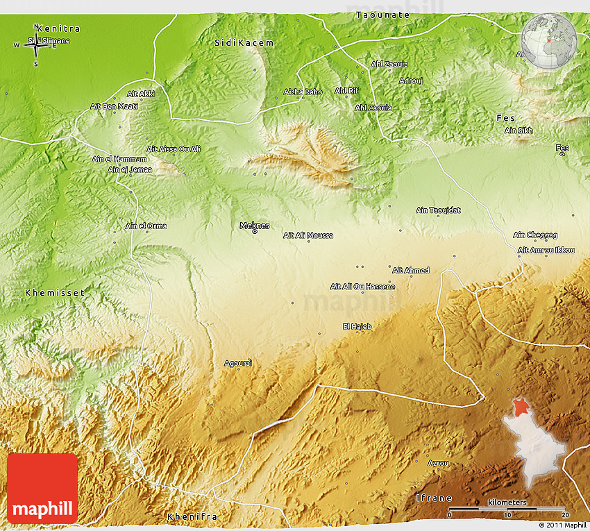 Physical 3D Map of Meknes