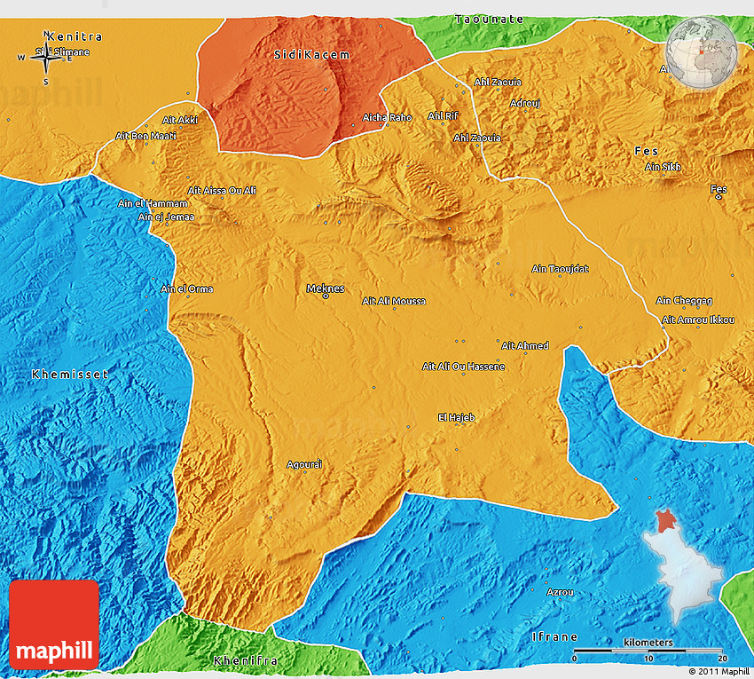 Political 3D Map of Meknes
