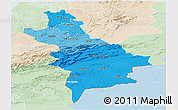 Political Shades Panoramic Map of Centre Sud, lighten