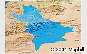 Political Shades Panoramic Map of Centre Sud, satellite outside