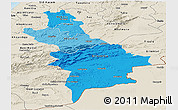 Political Shades Panoramic Map of Centre Sud, shaded relief outside