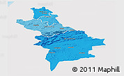 Political Shades Panoramic Map of Centre Sud, single color outside