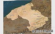Satellite 3D Map of Centre, darken