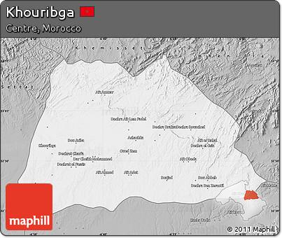 Free Gray Map of Khouribga