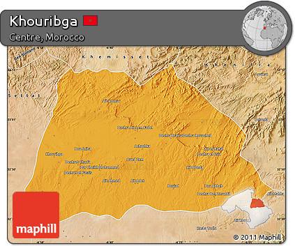 Free Political Map of Khouribga satellite outside