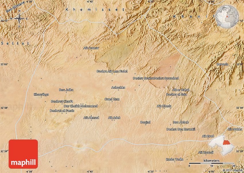 Satellite Map of Khouribga