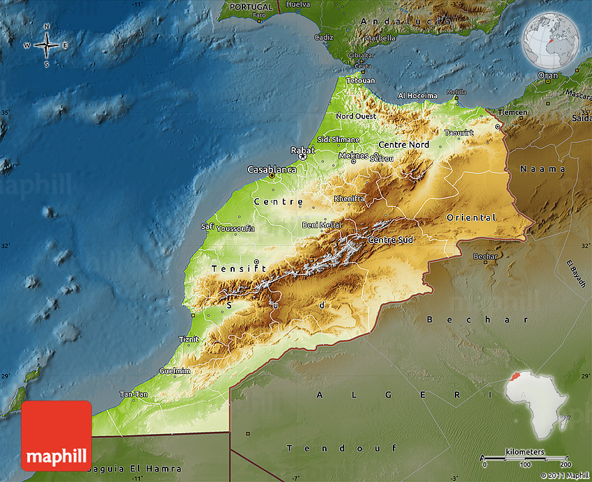 Physical Map Of Morocco Darken - Map of morocco