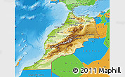 Physical Map of Morocco, political outside, shaded relief sea
