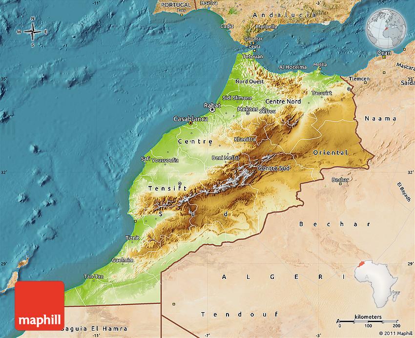 Physical Map Of Morocco Physical Map of Morocco, satellite outside