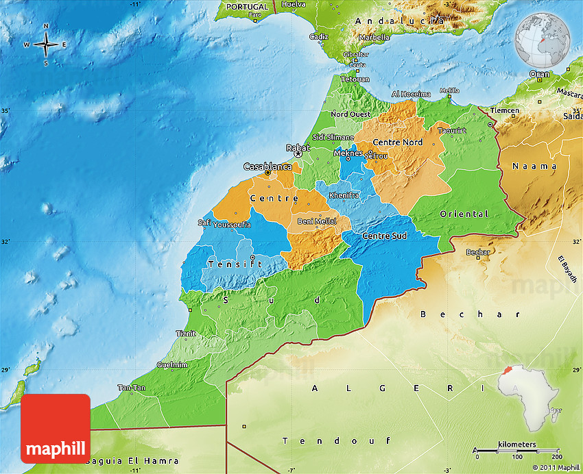 Political Map of Morocco physical outside