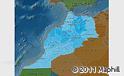 Political Shades Map of Morocco, darken