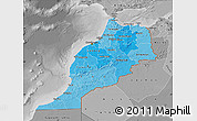 Political Shades Map of Morocco, desaturated