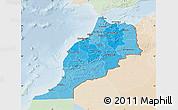 Political Shades Map of Morocco, lighten