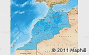 Political Shades Map of Morocco, satellite outside, bathymetry sea