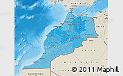 Political Shades Map of Morocco, shaded relief outside, bathymetry sea