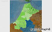 Political Shades 3D Map of Nord Ouest, darken